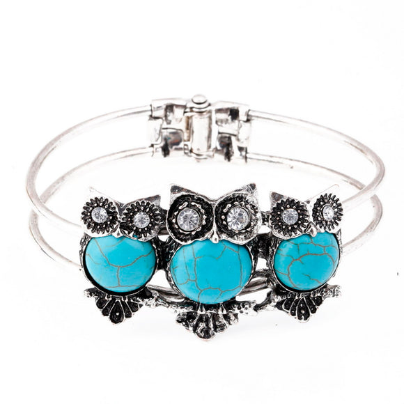 Women's Owl Cuff Bangle Bracelet Turquoise Crystals Tibetan Silver Vintage