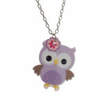 Girls Cute Owl Necklace FREE Drop Earrings Cartoon Style Children's Resin Jewelry