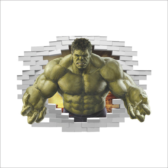Incredible Hulk Bust Through Wall 3D Sticker Avengers Peel Home Decor DIY