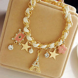 Women's Eiffel Tower Crystal Charm Bracelet Flower Card Star Link Chain Paris