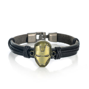 Iron Man Mask Bangle Bracelets Leather Rope Band Superhero Handmade Fans