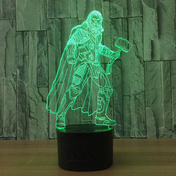 Thor 3D LED Night Light Table Lamp 7 Color Change Superhero Adults Kids