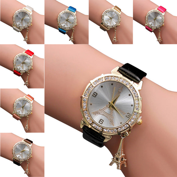 Women's Eiffel Tower Crystal Charm Watch Quartz Wristwatch Rhinestone