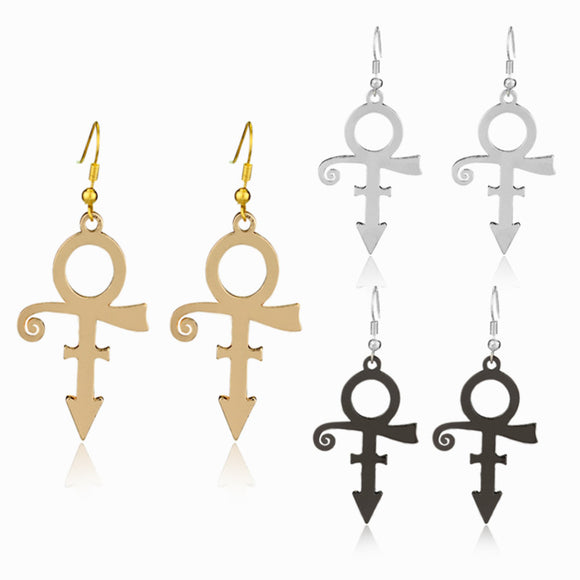 Prince Love Symbol Drop Earrings Music Superstar Icon RIP Memorial Women