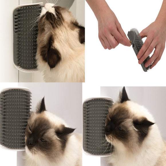 Cat Self-Groomer Massage Scratch Wall Brush Comb Toy Plastic Catnip