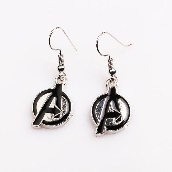 Avengers Symbol Logo Drop Earrings Enamel Black Silver Marvel Women