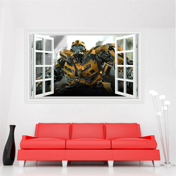 Transformers Bumble Bee Window View 3D Wall Sticker Autobots DIY Adults Kids