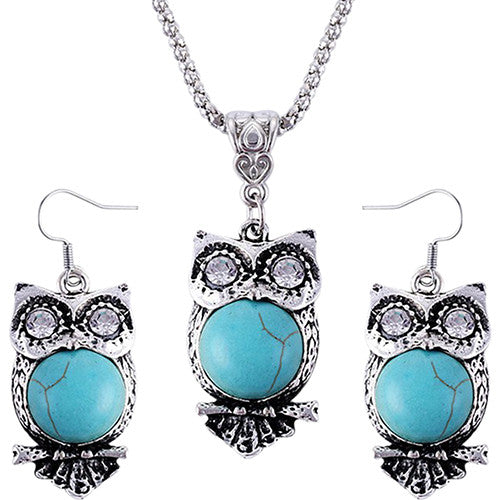 Women's Owl Jewelry Set Rhinestones Turquoise Silver Necklace and Earrings