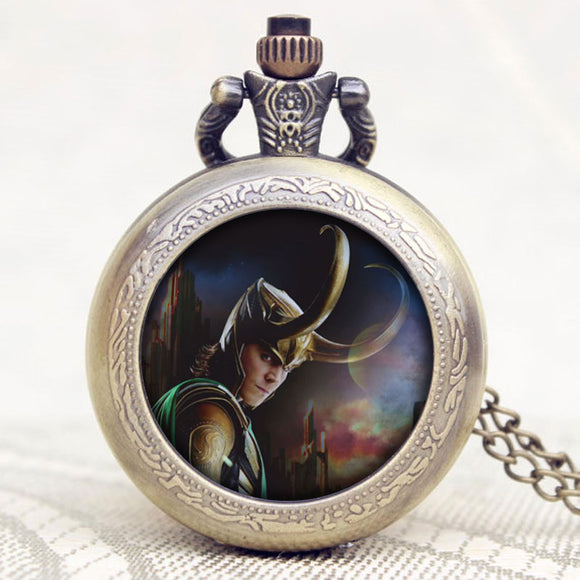 Loki Bronze Pendant Necklace Pocket Watch Thor Movies Vintage Men Women