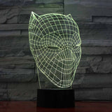 Black Panther Mask 3D LED Night Light Desk Lamp 7 Colors Touch USB Adult Kid