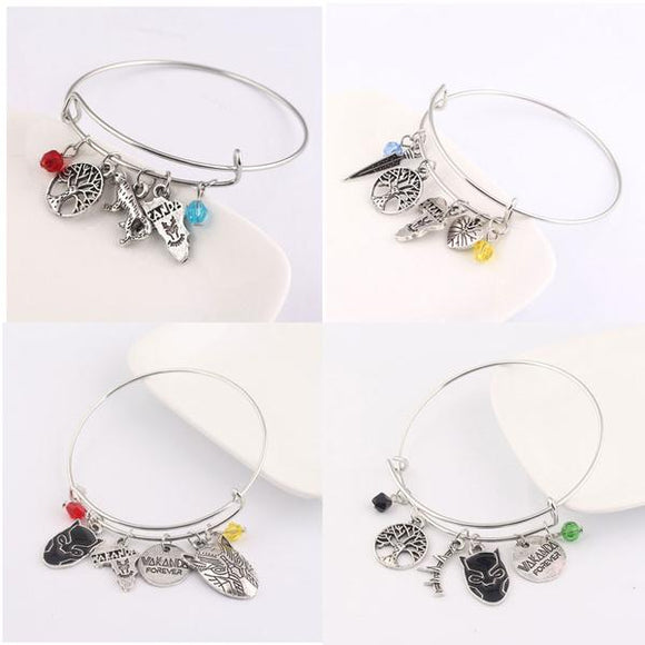 Black Panther Charm Bangle Bracelets Africa Mask Beads Tree of Life Wakanda