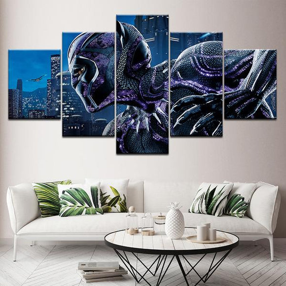 Black Panther 5 Piece Canvas Framed Wall Art HD Print T'Challa Hit Movie