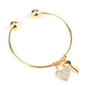 Women's Key To The Heart Bangle Bracelet Gold Silver Plated