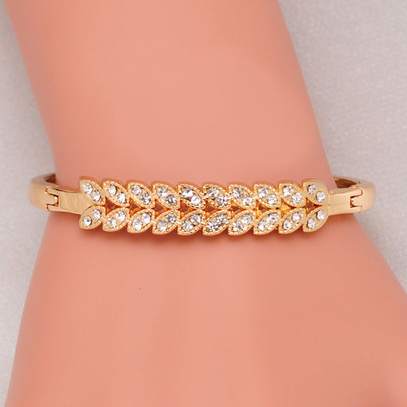 Crystal Encrusted Leaves Bangle Bracelet 18K Yellow Gold Plated Women