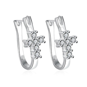 Women's Swarovski Crystal Pave Cross Earrings Sterling Silver