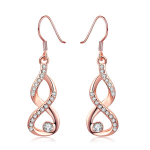 Infinity Crystals Drop Earrings 18K Rose Gold Plated Women's Jewelry