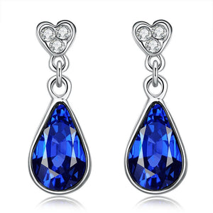 Women's Sapphire Dangle Drop Earrings 18K Italian White Gold Jewelry