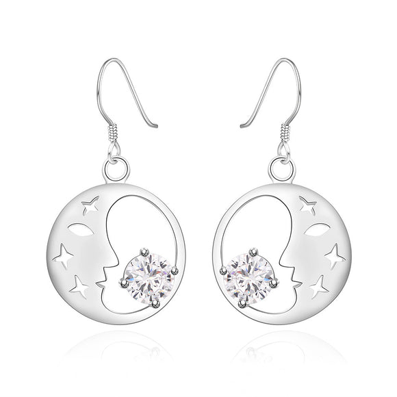 Good Night World Crystal Moon Drop Earrings 18K White Gold Plated