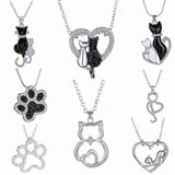 Women's Crystal Cat Pendant Necklaces