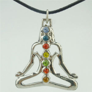 "Yoga Women's 7 Chakra Crystal Pendant 18"" Rope Necklace Buddha"
