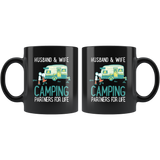 Camping Partners For Life Black Ceramic Mug 11oz Coffee Cup Double Sided Print