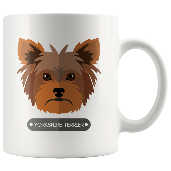 Yorkshire Terrier White Ceramic Mug Dogs 11oz Coffee Cup Double Sided Print