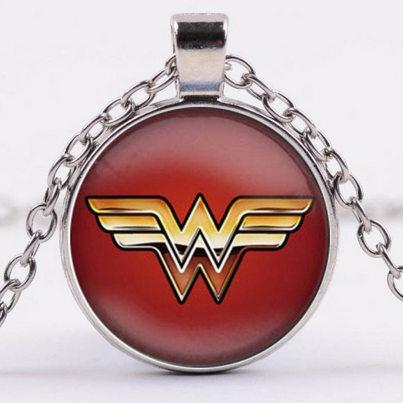 Wonder Woman Logo Pendant Necklace Glass Handmade Superhero Unisex