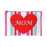 I Heart Mom Colorful Stripes Print Accessory Pouches Makeup Travel Bag Small Large