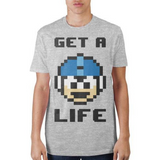 Mega Man Get A Life 8-Bit Short Sleeve T-Shirt Adult Fitted Tee Athletic Heather