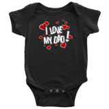 I Love My Dad Hearts Baby Bodysuit Newborn Infant Toddler Snapsuit