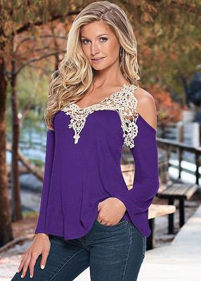 Floral Lace Off Shoulder Shirt