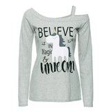 2018 Women Long Sleeve Unicorn Print T-Shirt