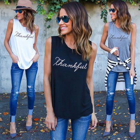 2018 Summer Casual Women T-Shirts Sleeveless Rock Style