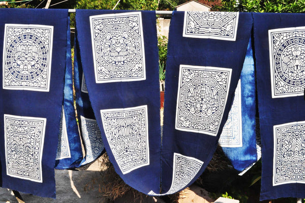 carved clamp indigo dyed