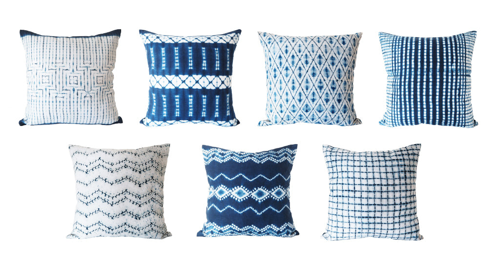 indigo linen pillows
