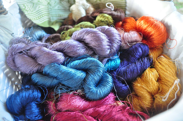 naturally dyed silk skeins