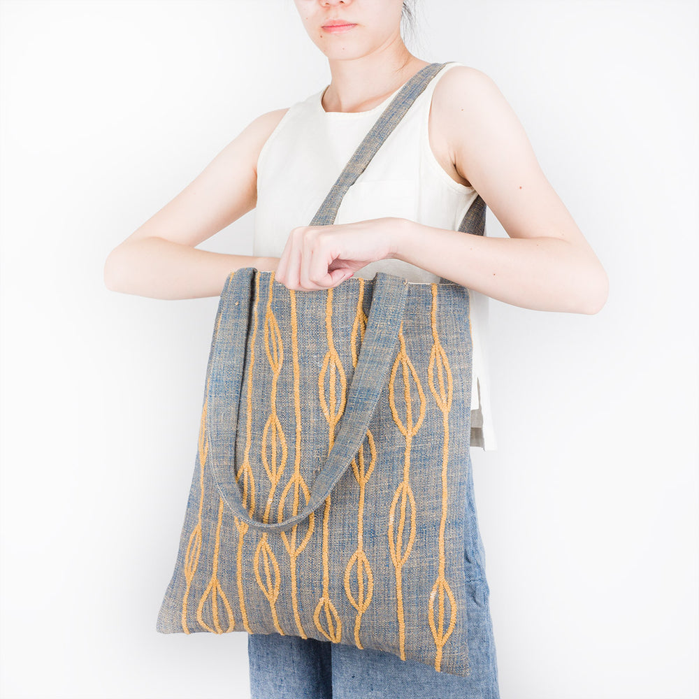Embroidered Cotton Tote Bag - Yellow Petals - Slowstitch Studio