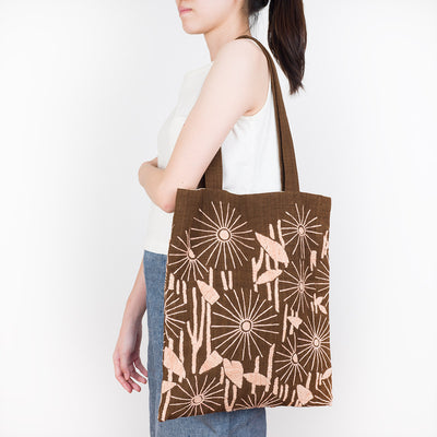 Embroidered Ebony Tote Bag - Daisy - Slowstitch Studio