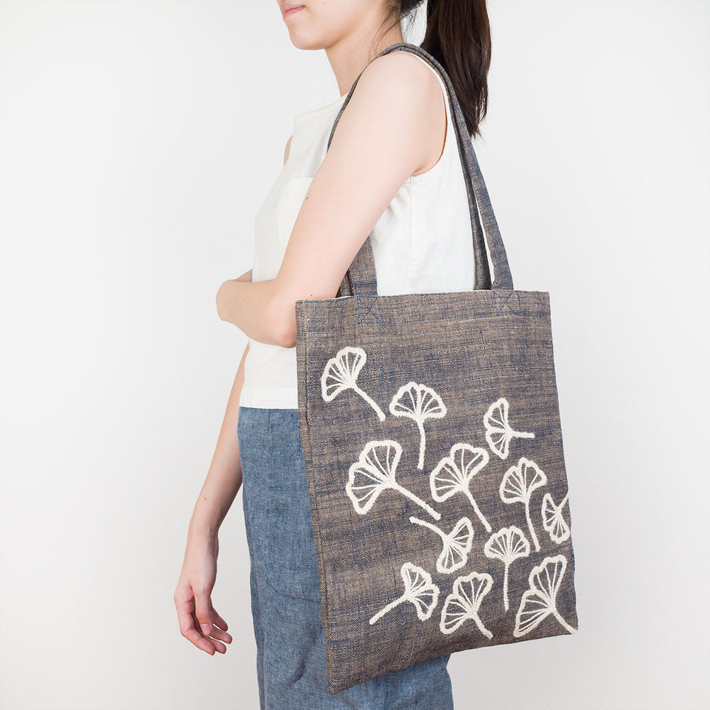 Embroidered Gray Tote Bag - Ginkgo - Slowstitch Studio