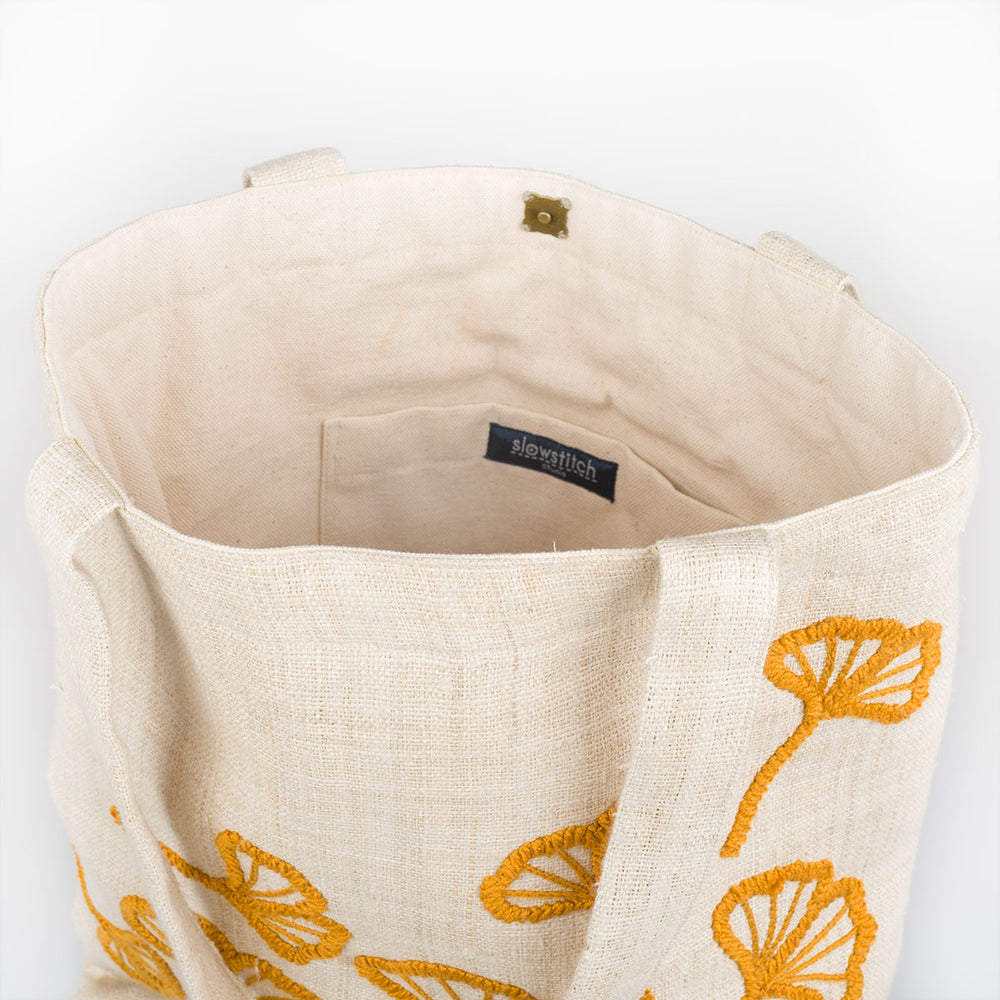 Embroidered Hemp Tote Bag - Ginkgo - Slowstitch Studio