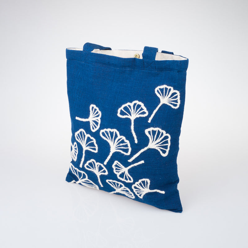 Embroidered Indigo Tote Bag - Ginko - Slowstitch Studio