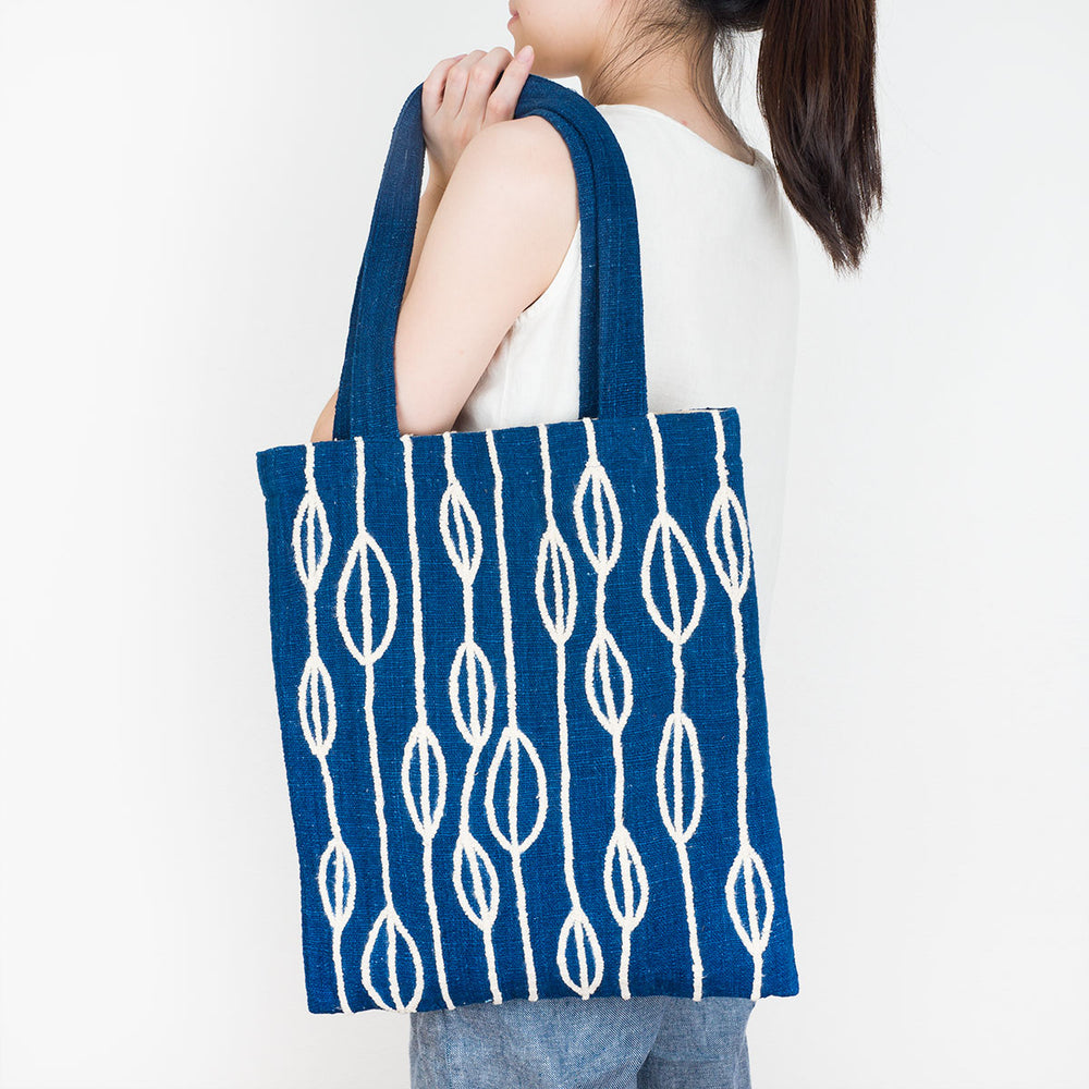 Embroidered Indigo Tote Bag - Petals - Slowstitch Studio