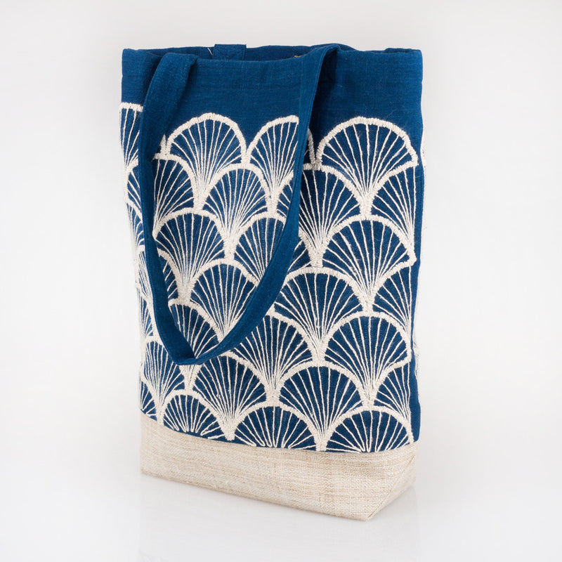Embroidered Indigo Tote Bag - Shark Fin - Slowstitch Studio