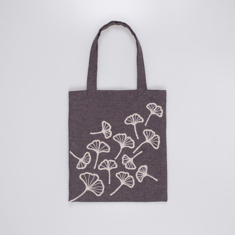Embroidered Tote - Beige Ginkgo