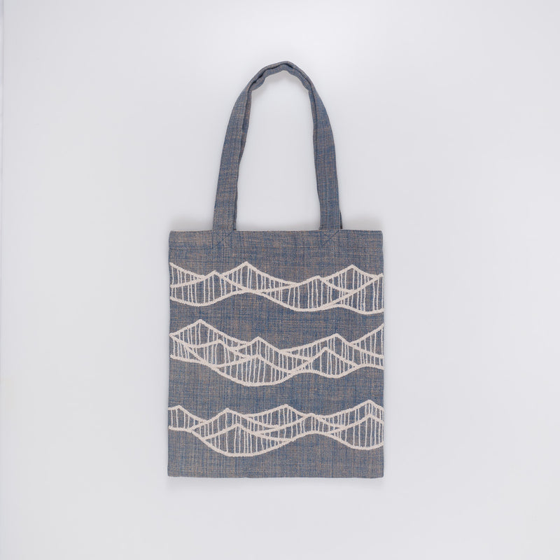 Embroidered Tote - Beige Waves