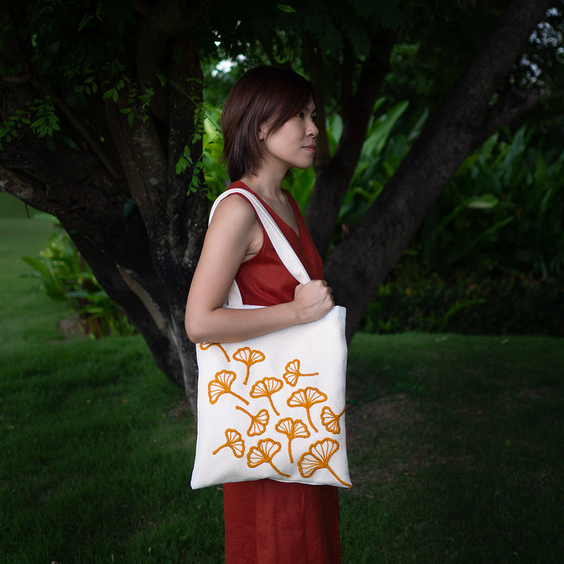 Embroidered Tote - Yellow Ginkgo