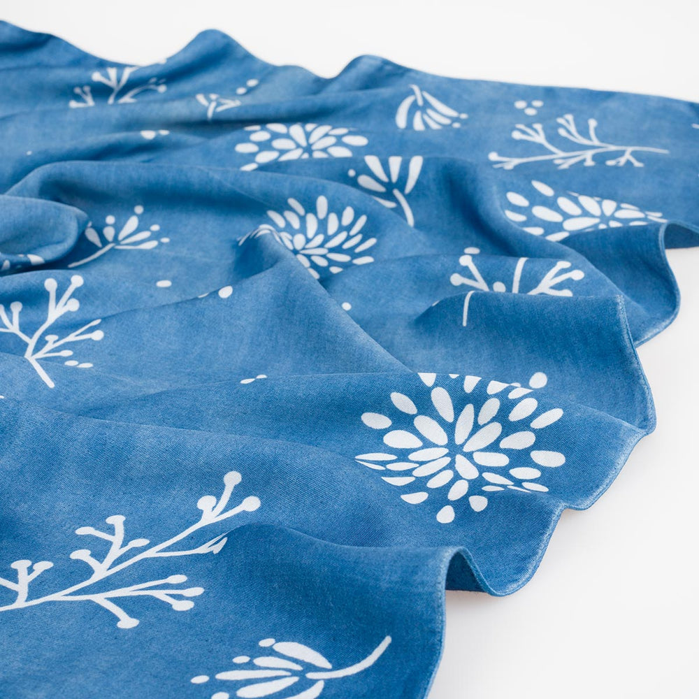 Indigo Silk Bandana - Blue Chrysanthemum - Slowstitch Studio