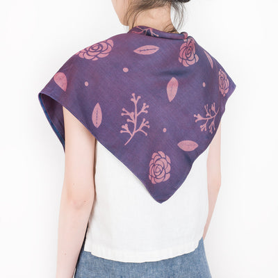 Natural Dye Silk Bandana - Purple Camellia - Slowstitch Studio