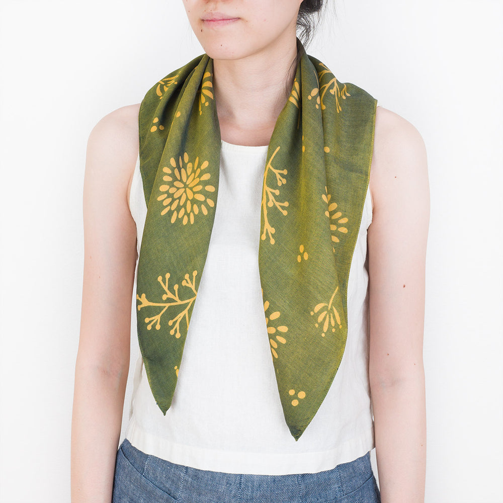 Natural Dye Silk Bandana - Yellow Chrysanthemum - Slowstitch Studio