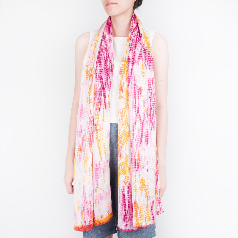 Natural Dye Silk Scarf - Double Suji - Slowstitch Studio